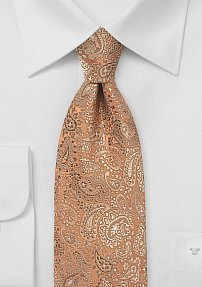 Vintage Bronze Necktie with Floating Paisleys