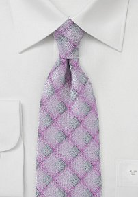 Men's Diamond Tie in Pinks and Grays