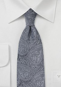 Luxe Paisley Tie in Dark Grays and Silvers