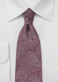 Regal Paisley Tie in Burgundy and Silver