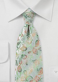 Silver Floral Tie with Tangerine and Lime Accents