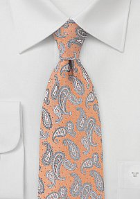 Paisley and Micro Dot Necktie in Tangerine