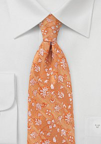 Pale Copper Floral Design Tie Made of 100% Silk