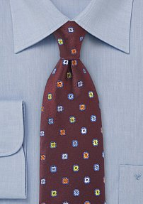 Deep Cranberry Silk Tie with Embroidered Flowers