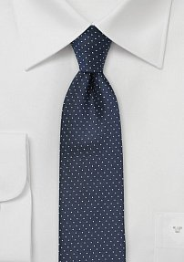 Skinny Pin Dot Pattern Tie in Midnight Blue