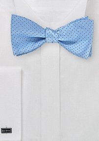 Pin Dot Self-Tie Bow Tie in Light Blue