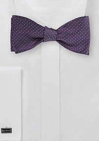 Self Tied Silk Bow Tie in Purple and Silver