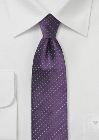 Skinny Silk Tie in Purple with Gray Pin Dots