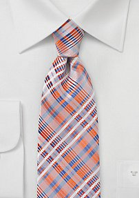 Summer Plaid Tie in Orange, Blue, and Silver