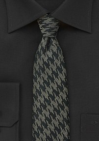 Wool Skinny Tie in Black and Gray with Houndstooth Design