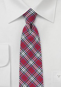 Narrow Tartan Plaid Tie in Reds