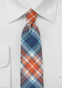 Skinny Cotton Summer Tie in Tangerine and Navy