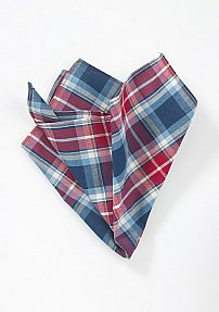 Trendy Summer Pocket Square with Red and Blue Plaid
