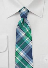 Trendy Narrow Cotton Tie in Green and Blue