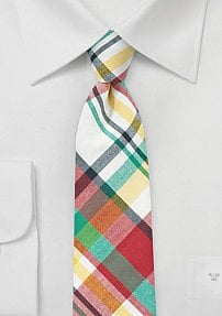 Fun Madras Necktie in Pure Cotton