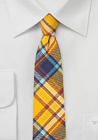 Autumn Hued Flannel Skinny Plaid Tie