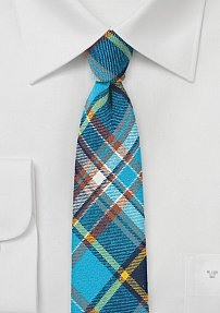 Skinny Flannel Tie with Bold Aqua and Plum Madras Plaid