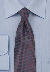 Micro Check Silk Tie in Navy and Copper