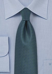 Navy Silk Tie with Forest Green Micro Check