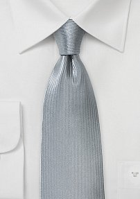 Ribbed Texture Silk Tie in Metallic Silver