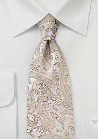 Silk Paisley Tie in Champagne in XL