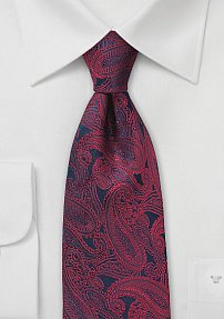 Designer Paisley Tie in Blue and Red