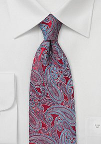 Designer Paisley Tie in Red, Silver, and Turquoise