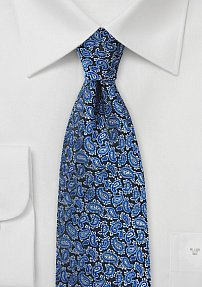 All Over Paisley Design Silk Tie in Blue