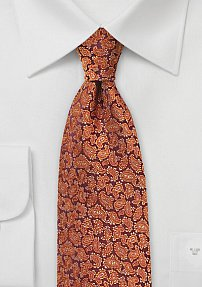 Pumpkin Orange Silk Necktie with Small Paisleys