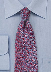 All Over Paisley Tie in Red and Lilac