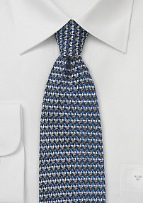 Retro 70s Weave Silk Tie in Silver and Blue
