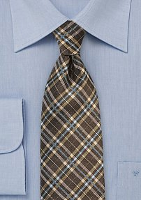 Tartan Plaid Silk Tie in Brown, Gold, and Turquoise