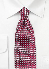 Retro 70s Weave Silk Tie in Red and Gray