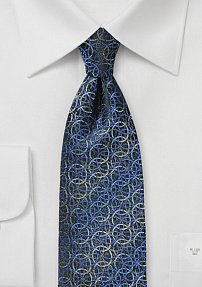 Blue and Silver Silk Tie with Spirals