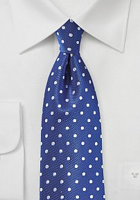 Fine Silk Polka Dots in Bright Blue and Silver