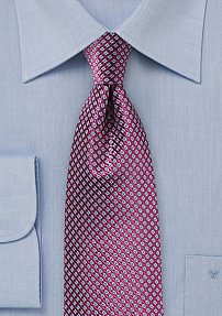 Micro Check Tie in Grape and Light Blue