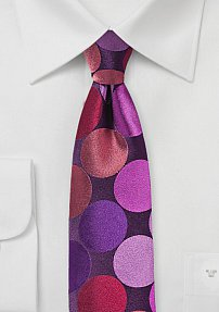 Skinny Designer Silk Tie with Giant Pink Polka Dots