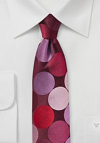 Red Skinny Tie with Super-sized Polka Dots
