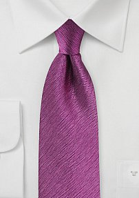 Solid Herringbone Woven Silk Tie in Magenta