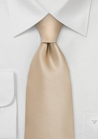 Solid Champagne-Cream Tie in Extra Long