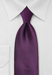 Solid Extra Long Berry Purple Tie