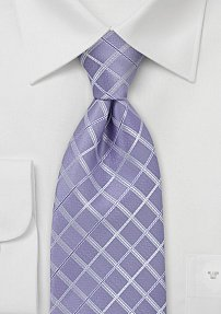 Trendy Purple Check Patterned Tie