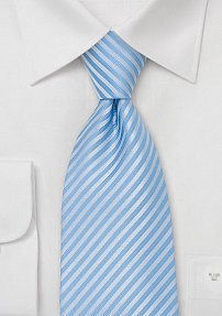 Classy Light Blue Striped Tie in XL Length