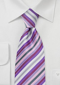 Striped Tie in Lavender Purple