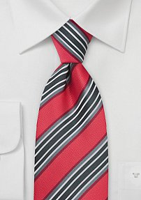 Necktie in Coral Red and Gray