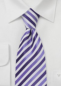Striped Kids Tie in Purples and Whites
