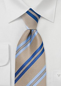 Striped Tie in Taupe and Blue