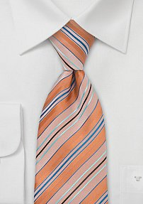 Orange and Aqua Striped Tie