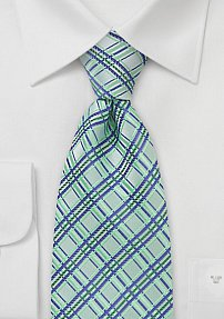 Light Green and Blue Checkered Tie