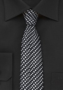 Silver and Black Dotted Tie
